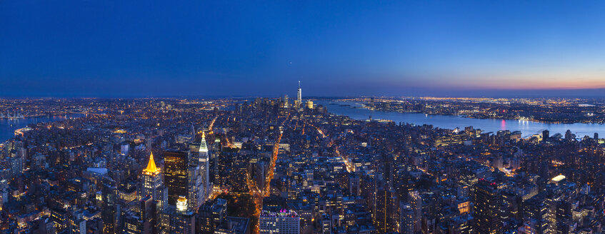 USA, New York City, Manhattan, panorama of financial district at dusk, aerial view - HSIF000436