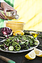 Spring salad of baby spinach, herbs, arugula and lettuce, tampering with vinegar - DEGF000699