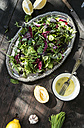 Spring salad of baby spinach, herbs, arugula and lettuce, dressing of yogurt, olive oil, honey and lemon - DEGF000708