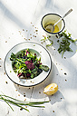 Spring salad of baby spinach, herbs, arugula and lettuce, dressing of yogurt, olive oil, honey and lemon - DEGF000717