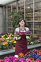 Young female gardener working in greenhouse - ALBF000039