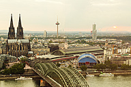 Germany, Cologne, view to cityscape with Cologne Cathedral from above - TAMF000430