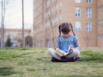 Little girl sitting on a meadow reading a book - XCF000065