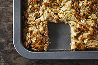 Baking tray of whole meal apple pie with sliced almonds - EVGF002858