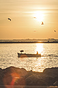 Germany, Warnemuende, Fishing boat at sunrise - ASCF000542