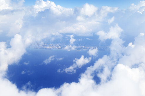 USA, Hawaii, Honolulu, View through clouds, aerial view - BRF001270