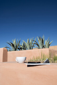 Teacup, magazine, mobile phone on roof terrace - LMF000559