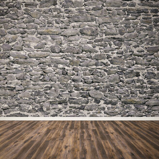 Natural stone wall and wooden floor, 3D Rendering - UWF000824