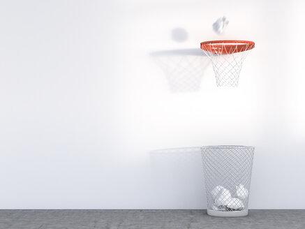 3D Rendering, wastepaper basket under basketball hoop, unerring - AHUF000140