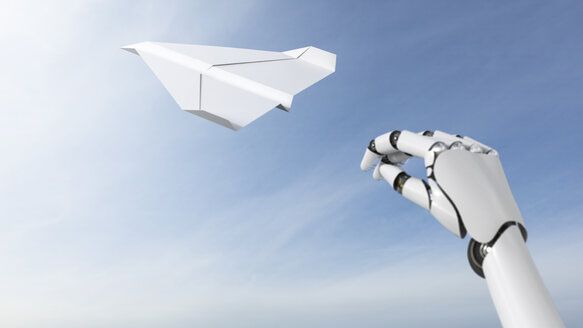 Robot hand throwing paper plane, 3D Rendering - AHUF000143