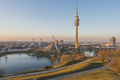 Germany, Munich, Olympic Park, Olympic Tower and BMW Tower right - KEB000350