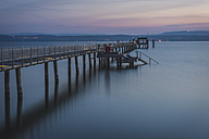 Switzerland, Thurgau, Altnau, pier at sunrise - KEBF000356