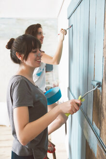 Young friends painting door in blue - RTBF000064