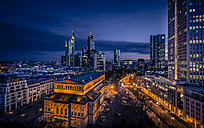 Germany, Hesse, Frankfurt, financial district and old opera in the evening - MPAF000051