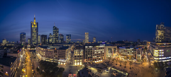 Germany, Hesse, Frankfurt, Downtown view with Hauptwache and financial district - MPAF000054
