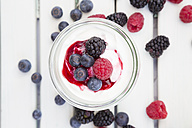 Glass of Greek yogurt with berries - LVF004684