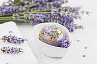 Wellness items, Lavender-Calendula Soap ball in bowl, lavender, white towel - GWF004657
