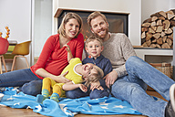 Portrait of happy family at home - RHF001427