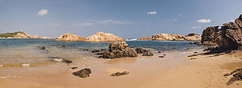 Spain, Menorca, Panoramic view of Cala Pregonda - RAEF000986