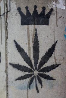 Marijuana sign sprayed on wall - MAUF000405
