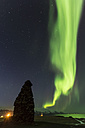 Iceland, Snaefellsnes, Arnarstapi, Northern lights - FCF000866