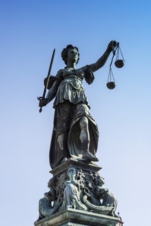 Germany, Frankfurt, Fountain of Justice, sculpture of Justitia - WGF000848