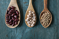 Row of three wooden spoons with dried brown lentils, red beans and chickpeas - KIJF000308