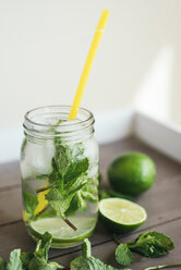 Fresh Mojito in glass with drinking straw - JPF000130