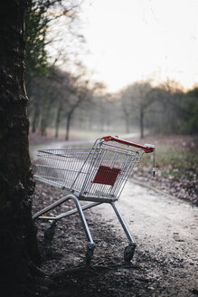Germany, empty shopping cart parked at tree in city park on rainy day - DASF000043