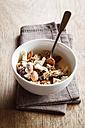 Homemade granola of oat, almond, quinoa, raisin and dried apple rings - EVGF002924
