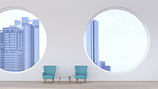Modern waiting area, retro style in front of modern skyline, 3D Rendering - UWF000846