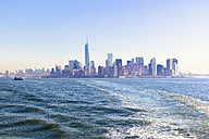 USA, New York City, view of Manhattan skyline and East River at backlight - GIOF000882