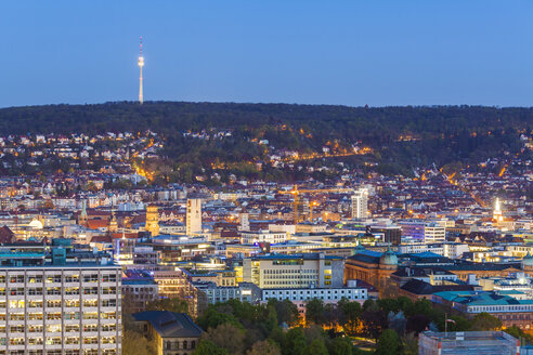 Germany, Stuttgart, cityscape with TV tower in the evening, blue hour - WDF003593