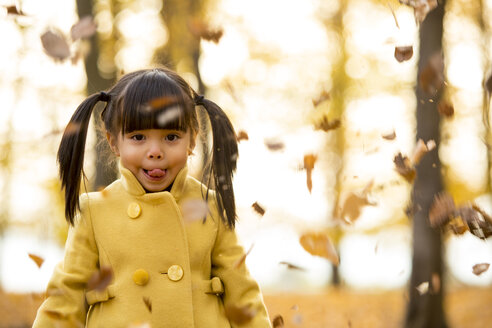 Vietnamese girl, portrait, outdoor in the woods in fall season - ZOCF000048