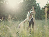 Summer, Girl with flowers in her hair during sunset - ANHF000020