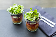 Rainbow salad in glasses with chickpeas, tomatoes, carrots, red cabbage, red radishes, lettuce and feta cheese - SARF002692