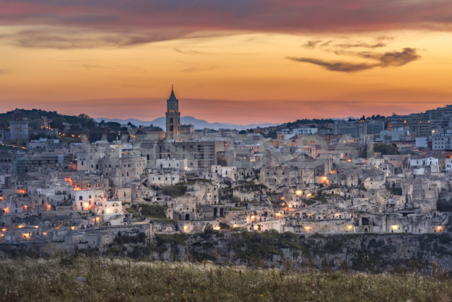 Italy, Basilicata, Matera, Old town, View to Sassi of Matera in the evening - CSTF001037
