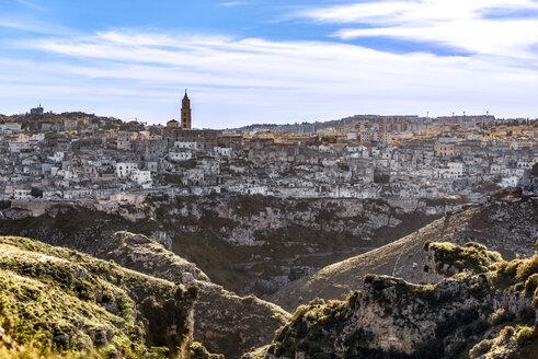 Italy, Basilicata, Matera, Old town, View to Sassi of Matera, La Gravina di Matera, Parco della Murgia Materana - CSTF001040