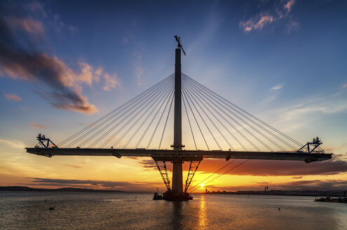 Scotland, Construction of the Queensferry Crossing Bridge at sunset - SMAF000452