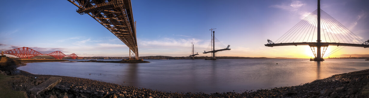 Scotland, Construction of the Queensferry Crossing Bridge, Firth of Forth, Forth Bridge and Forth Road Bridge - SMAF000455