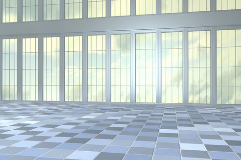 Empty hall in a high-rise building, 3D Rendering - CMF000398