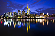 Germany, Hesse, Frankfurt, financial district in the evening, Main river at blue hour - WGF000856