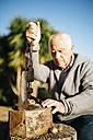 Senior man using an old tool for cracking walnuts - JRFF000591
