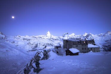 Switzerland, Zermatt, Gornergrat, Kulm Hotel, blue hour - STCF000228