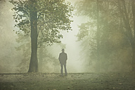 Gernany, North Rhine-Westphalia, Rear view of man standing in foggy landscape - DWIF000728