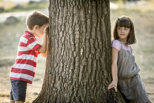 Little boy and girl playing hide and seek in nature - ZOCF000118