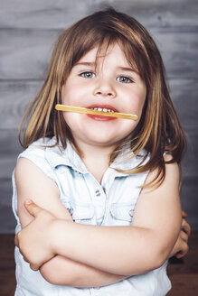 Portrait of little girl after eating ice lolly - RTBF000167