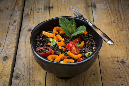 Beluga lentil salad with cucumber, tomato, bell pepper and mint - LVF004832