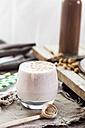 Glass of cheesecake smoothie with tigernut powder - SBDF002884