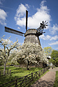 Germany, Berlin-Britz, windmill and blossoming cherrry trees - ASCF000580